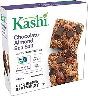 Kashi Chewy Chocolate Almond Sea Salt Granola Bars - Vegan   Box of 6 (Pack of 8)