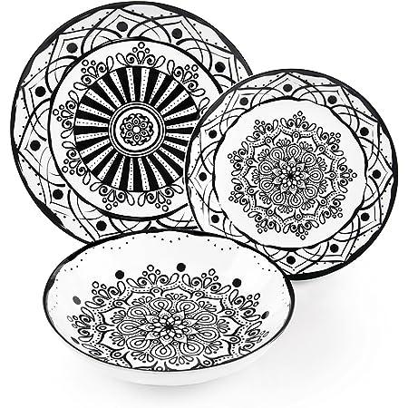 Excelsa bhoeme Noir Service Table, Porcelaine, Noir, 18unités