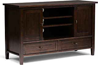 Simpli Home Warm Shaker Solid Wood 47 inch Wide Rustic TV Media Stand in Tobacco Brown For TVs up to 50 inches