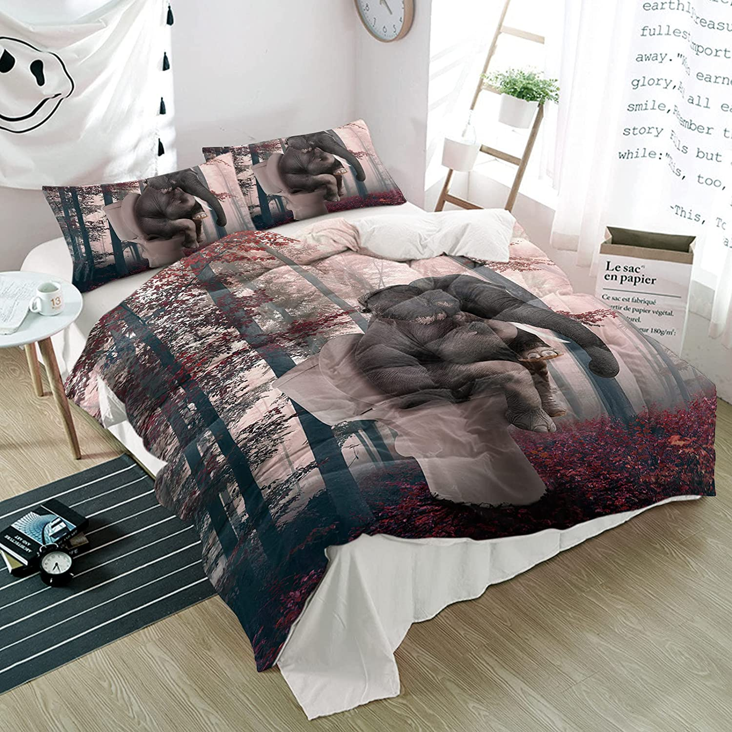California King Duvet Cover Set Autumn Funny Forest Elephant Portland Mall Sit security