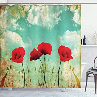 Ambesonne Poppies Shower Curtain, Meadow Themed Composition with Blossoming Flowers Spring Season, Cloth Fabric Bathroom Decor Set with Hooks, 70
