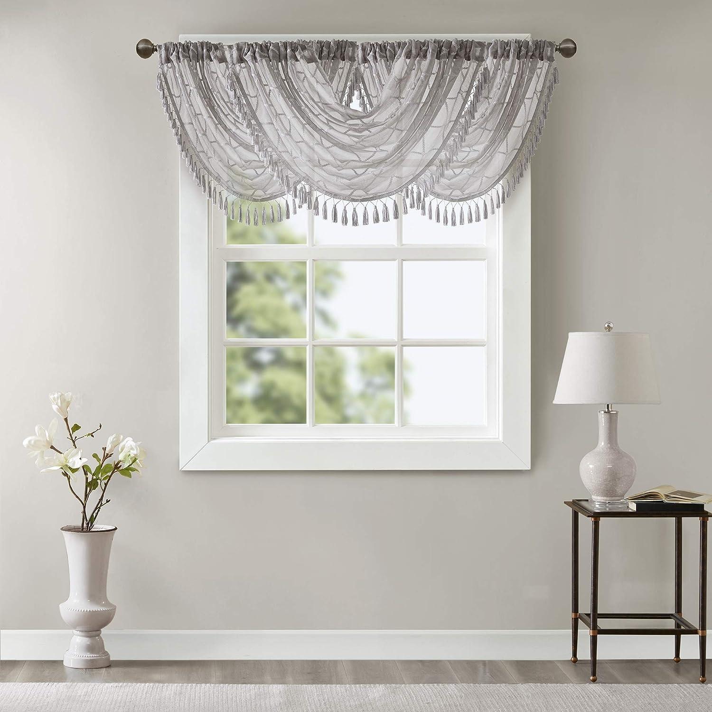 Irina Diamond Sheer Embroidered Ascot Grey Window Valance , Eleg