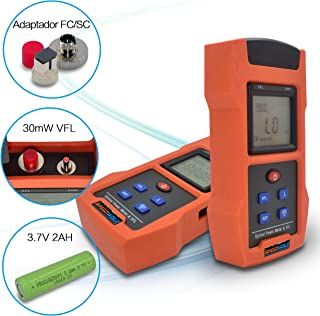 SPEEDWOLF Portable FTTH Fiber Optical Power Meter (-50dBm~+26dBm),Handlend Optic Fiber Cable Tester Tool with 30mW 30KM VFL and SC+FC Adapter for CCTV CATV Engineering Maintenance