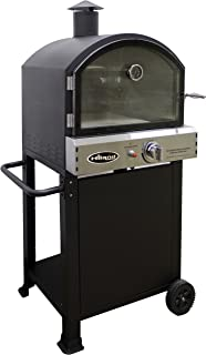 Hiland PSL-SPOC Propane Pizza Oven, 15,000 BTU, Temperture Gauge, 15'x14 Pizza Stone Included, Highly Efficient, Black