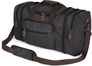Canvas Duffle Bag for Travel, 50L Duffel Overnight Weekend Bag(Dark Gray)