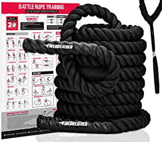 Battle Ropes with Foldable Poster and Anchor KIT. Full Body Workout Equipment for Crossfit Training, Home Gym or Fitness Exercises. Poly Dacron Heavy Battling Rope to Boost Strength, Cardio & Power