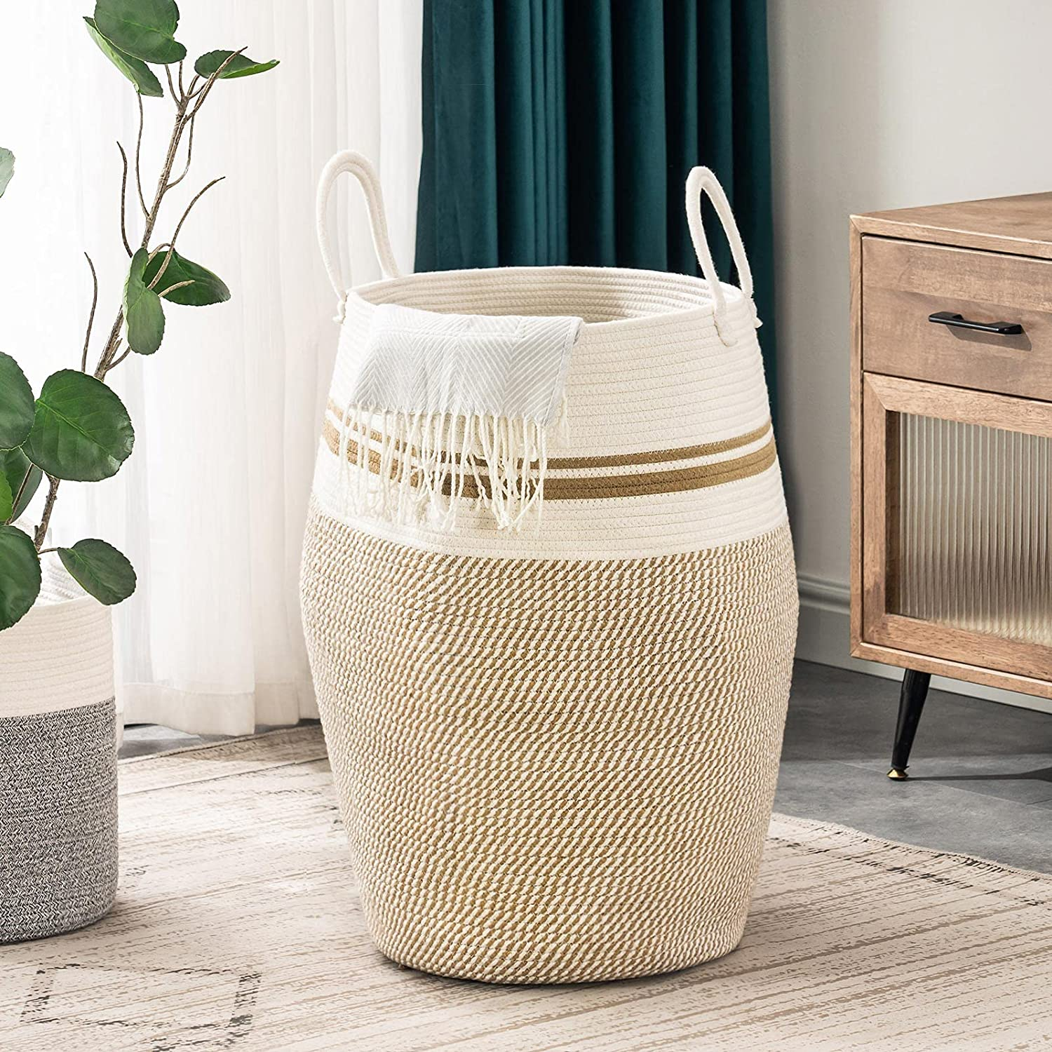 YOUDENOVA 105L Indianapolis Mall Extra Large Woven Heav Basket Excellent Laundry with Hamper
