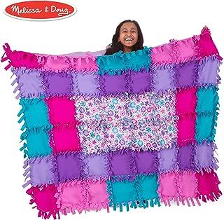Melissa & Doug Created by Me! Flower Fleece Quilt (Arts & Crafts, No-Sew Fleece Quilt, Soft Material, 48-Pieces, 5′W × 4′L)