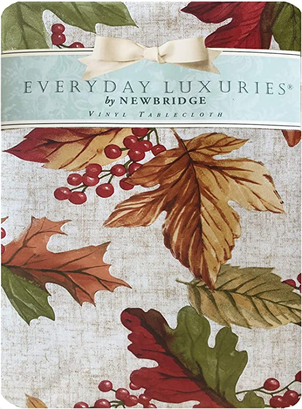 Newbridge Rustic Fall Acorn And Leaf Print Autumn Vinyl Flannel Backed Linen Look Thanksgiving Leaf Print Kitchen Dining Room Print Easy Care Print Tablecloth 60 X 102 Oblong Rectangle