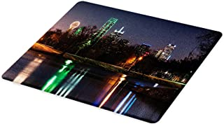 Lunarable USA Cutting Board, Dallas City Skyline Reflected in a Lake Park with Trees at Night Landscape Scenery, Decorative Tempered Glass Cutting and Serving Board, Large Size, Multicolor