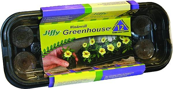 Jiffy J312 12Pel Wndwsll Greenhouse Mini Black With Clear Dome