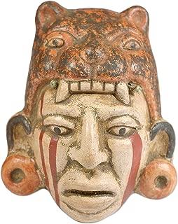 NOVICA Decorative Maya Ceramic Mask, Earthtone, Maya Jaguar Priest'