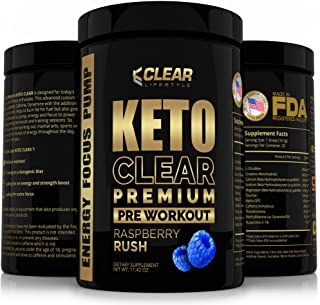 Ketogenic Pre Workout Supplement - Keto Diet Fat Burner, Boost Energy, Focus and Pump Perfect Keto Pre Workout Powder with Exogenous Ketones BHB Salts - Blue Raspberry