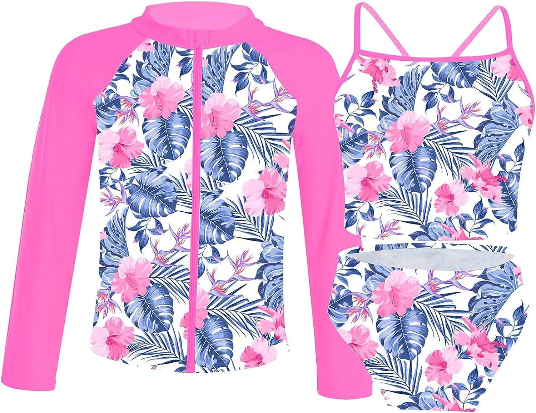 YONGHS 3 Pieces Kids Ranking TOP19 gift Girls Summer Pri Swimsuit Up Rash Zip Guard