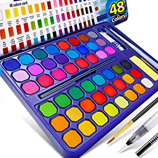 Firares Upgrade Premium Pigment 48 Vibrant Colors Watercolor Paint Set - All in One Gift Box with Watercolor Brush, Drawin...