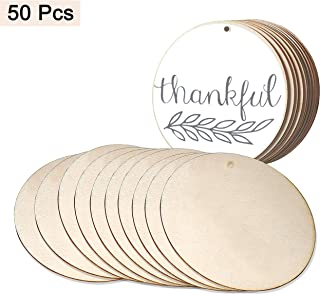 Wood Circles (50pcs) - Unfinished Round Discs(3.9 Inch/10 cm) Blank Wooden Tags Slices Cutouts for DIY Crafts ,Birthday, Game Boards, Decorations