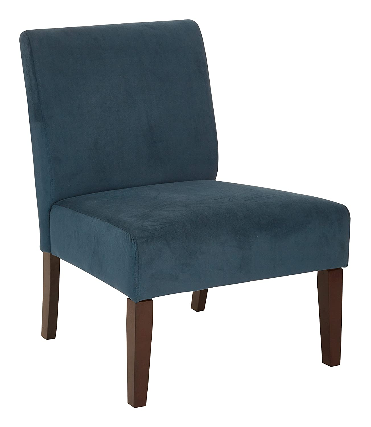 AVE SIX Laguna Accent Chair with Espresso Finish Solid Wood Legs, Azure Velvet Fabric