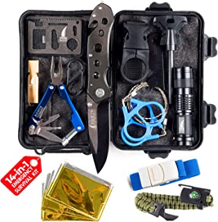 Camping Gear Tactical Survival Kit 14 in 1   Hiking Backpack Outdoors  Car Emergency EDC Tools - SOS Disaster Preparedness Great Fishing Hunting Gifts for Men & Women