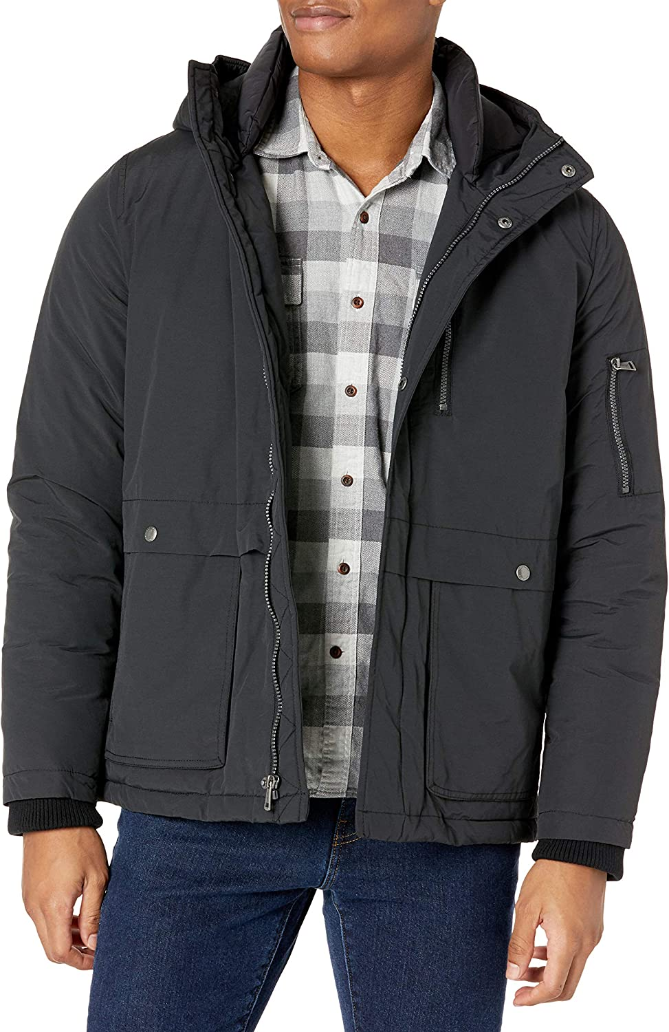 Cole Haan Signature Men's Textured Poly Hooded Parka