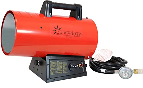 2021 Sunnydaze outlet online sale 60,000 BTU Forced Air Propane Heater - Portable Heat for Construction popular Sites - Auto-Shutoff for Overheating Protection - Adjustable Heating Output - Piezo Ignition - Red and Black sale