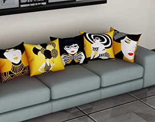 METRO-FASHION Digital Printed Decorative Polyester Blend Square Sofa Cushion/Pillow Cover, 16X16-inch/40X40cm(Yellow)- Set of 5