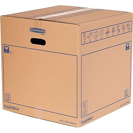 SmoothMove Caisses de Déménagement en Carton Double Epaisseur avec Poignées - 88.5 Litres, très résistants, jusqu'à 4 cartons empilés, 44.6 x 44.6 x 44.6 cm (Lot de 10), 6207401