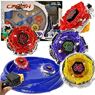Crush Battling Blades Game Tops Metal Fusion Starter Set (4 Tops +2 Launchers +4 Tips +2..
