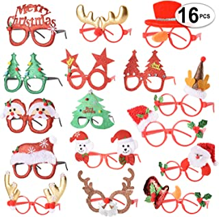 16 PCS Holiday Glasses,Cute Christmas Glasses Frames,Flexibility to Fit All Sizes,Great Fun and Festive for Annual Holiday and Seasons Themes, Christmas Party,Christmas Dinner,photos booth.