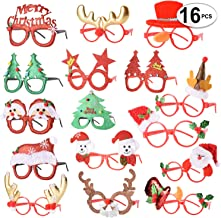 16 PCS Holiday Glasses,Cute Christmas Glasses Frames,Flexibility to Fit All Sizes,Great Fun and Festive for Annual Holiday...