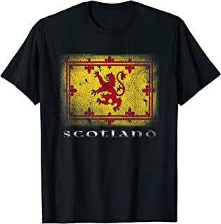 Scottish Lion Rampant Flag T-shirt Scotland Coat Arms Rugby
