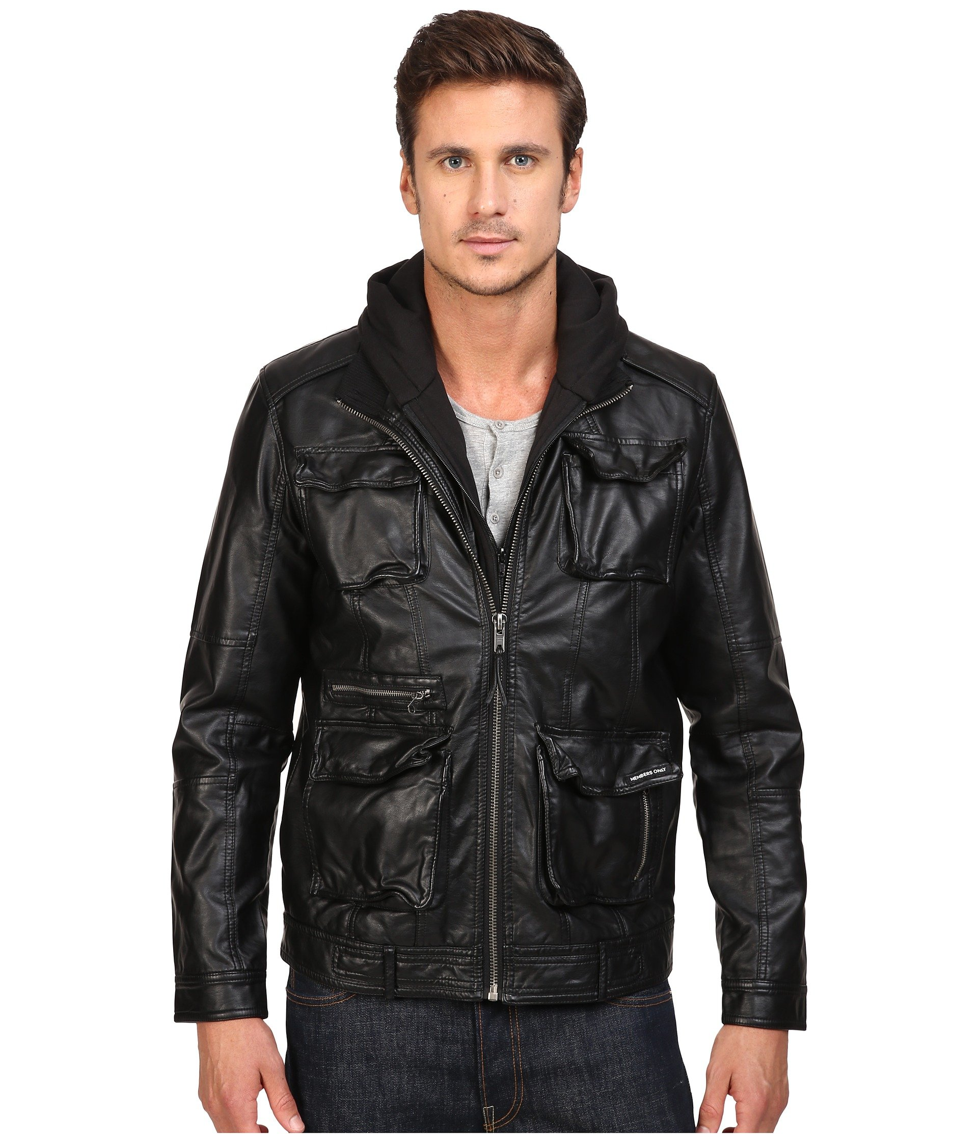 MEMBERS ONLY L-Train Washed Pu Jacket, Black