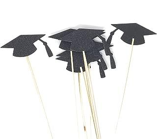 Black Grad Hat Centerpiece Sticks DIY Graduation Decor Double Sided Glitter 8 Pack (Jet Black)