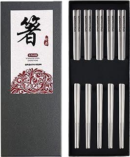Stainless Steel Chopsticks Metal Chopsticks Reusable Dishwasher Safe 304 Square Lightweight Chop Sticks Fancy Japanese Kor...