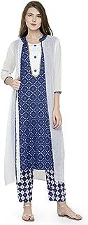 Natty India Blue and white Printed Cotton Women's (Kurti & Palazzo Set)