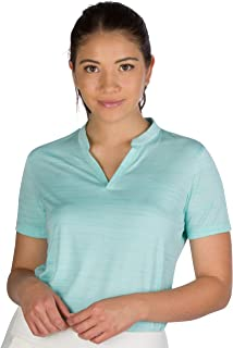 Three Sixty Six Women's Short Sleeve Collarless Golf Polo Shirt - Dry Fit, Breathable, Compression Golf Tops