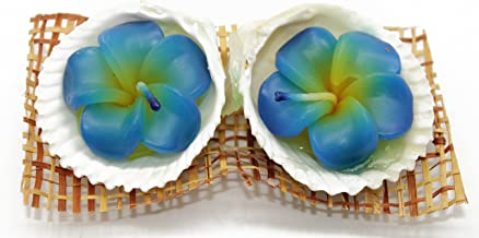 Hawaii Luau Party 2 Flower Shaped Cancles in Shell Holders Ocean Scent in Blue