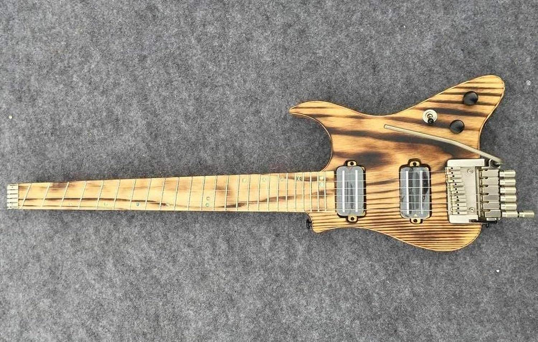 KEPOHK Guitarra eléctrica de viaje Guitarra sin cabeza Guitarra