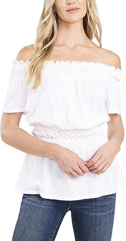Short Sleeve Off Shoulder Peplum Tee