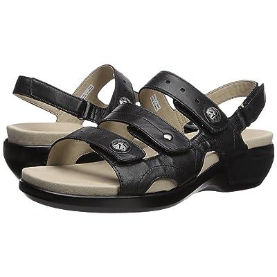 Aravon PC Three Strap (Black Leather) Women