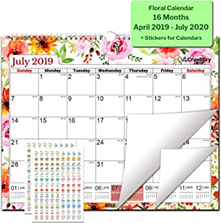 """Large Wall Calendar (2019-2020 Academic Year, Floral) 15x12"""" Academic Calendar for Wall, USE Now, from April 2019 to July 2020, with Stickers for Calendars, Floral Calendar by Cranbury"""
