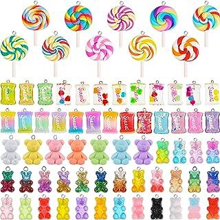 70 Pieces Colorful Candy Pendant Charm, Includes 35 Pieces Gummy DIY Bear Charm Pendants 25 Pieces Sweet Candy Pendant 10 ...
