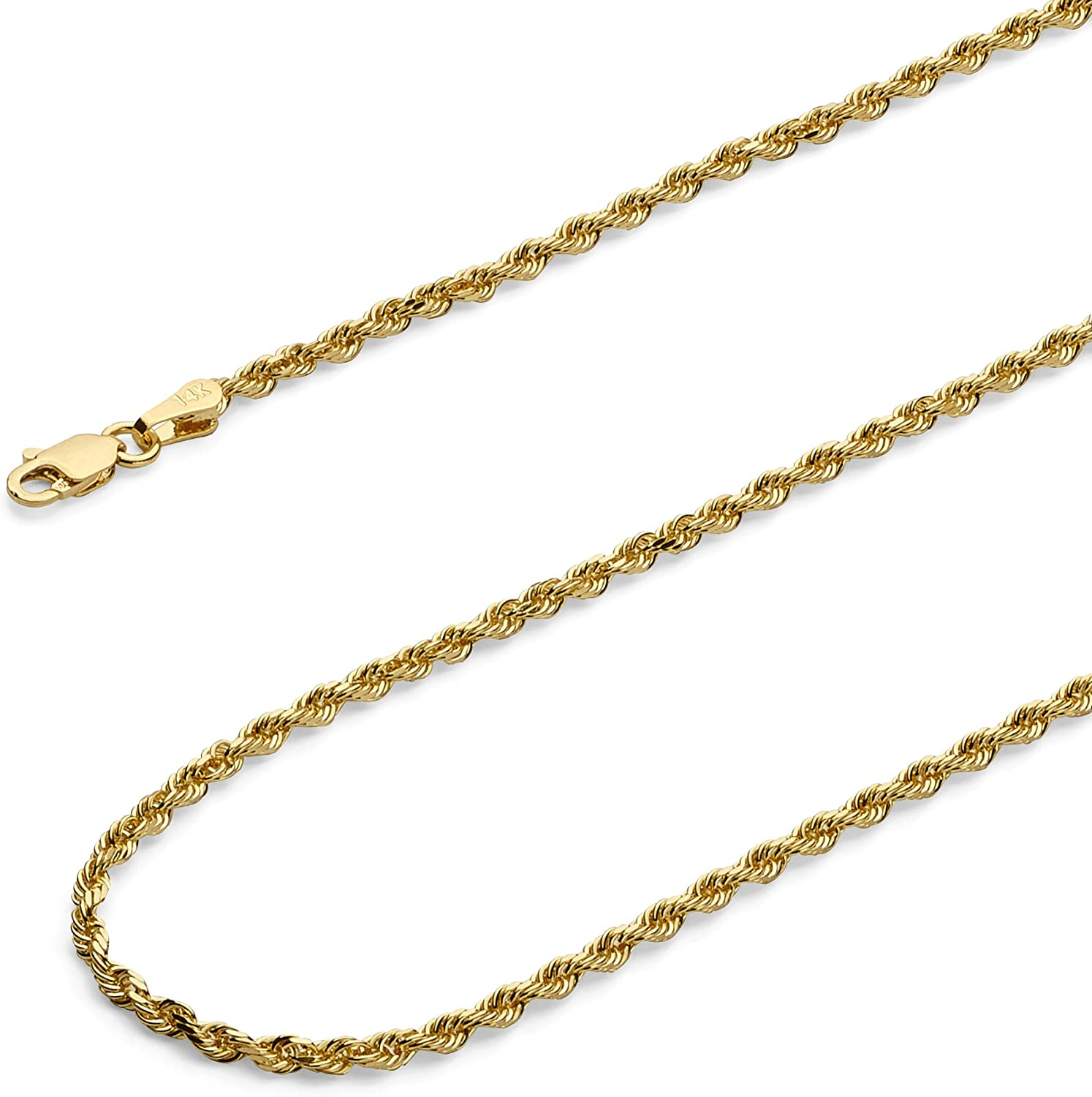 Wellingsale 14k Yellow Gold Brilliant Solid 2.5mm Diamond Cut Solid Rope Chain Necklace with Lobster Claw Clasp