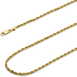 14k Yellow Gold Solid 2.5mm Diamond Cut Solid Rope Chain Necklace with Lobster Claw Clasp