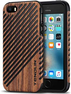 TENDLIN iPhone SE Case Wood Veneer Flexible TPU Silicone Hybrid Good Protection Case for iPhone SE and iPhone 5S 5 (Wood &...