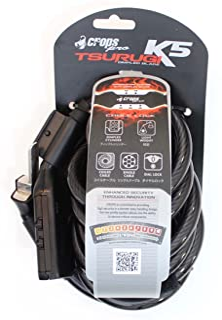comprar comparacion CROPS Cadena candado Pro K5 Tsurugi - 10mm Revestido de Acero en Espiral Cable de 180 cm de Largo con 5 dígitos de combina...