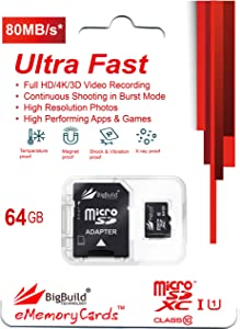 BigBuild Technology 64GB Ultra Fast 80MB s Class MicroSD Memory Card f...