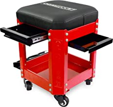 OEMTOOL 24998 Red Rolling Workshop Creeper Seat with 2 Tool Storage Drawers Under Seat Parts Storage Can Holders