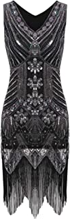 Meaneor Women Vintage 1920s Sstyle Slim Package Hip V Neck Tassel Sequined Flapper Dress Casual