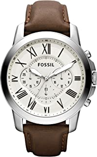 Fossil Men's FS4735 Grant Stainess Steel Watch With Brown Leather Band