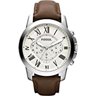 Fossil Men's Grant Quartz Stainless Steel and leather Dress Watch Color: Silver, Brown (Model:...